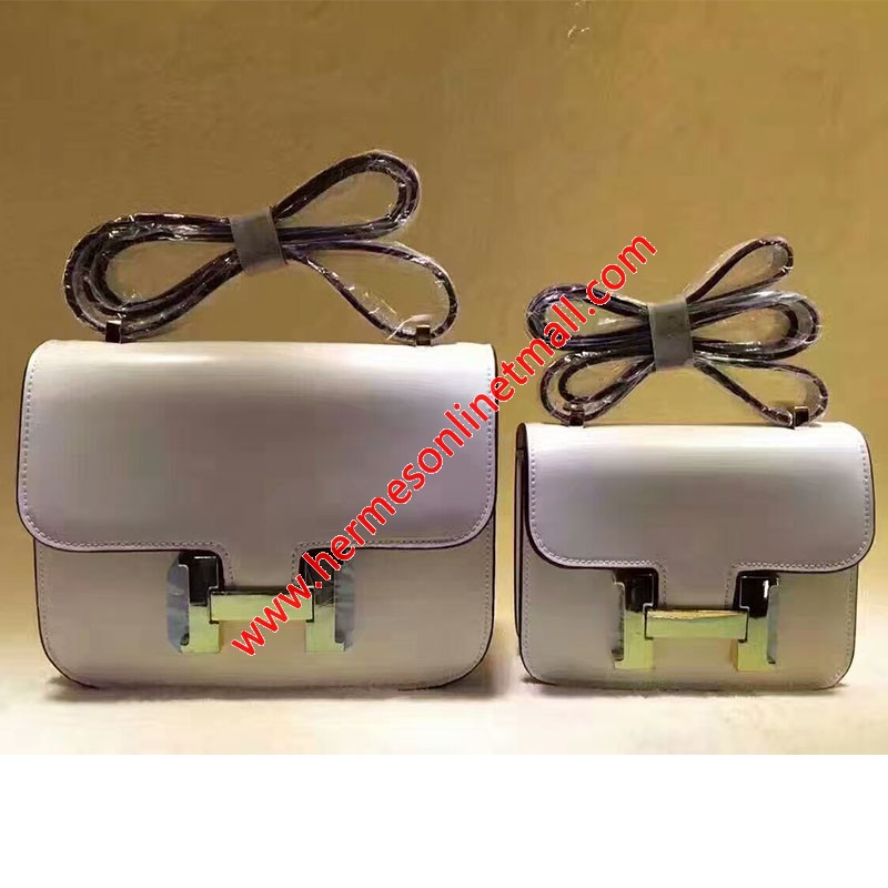 Hermes Constance Bag Box Leather Gold Hardware In White