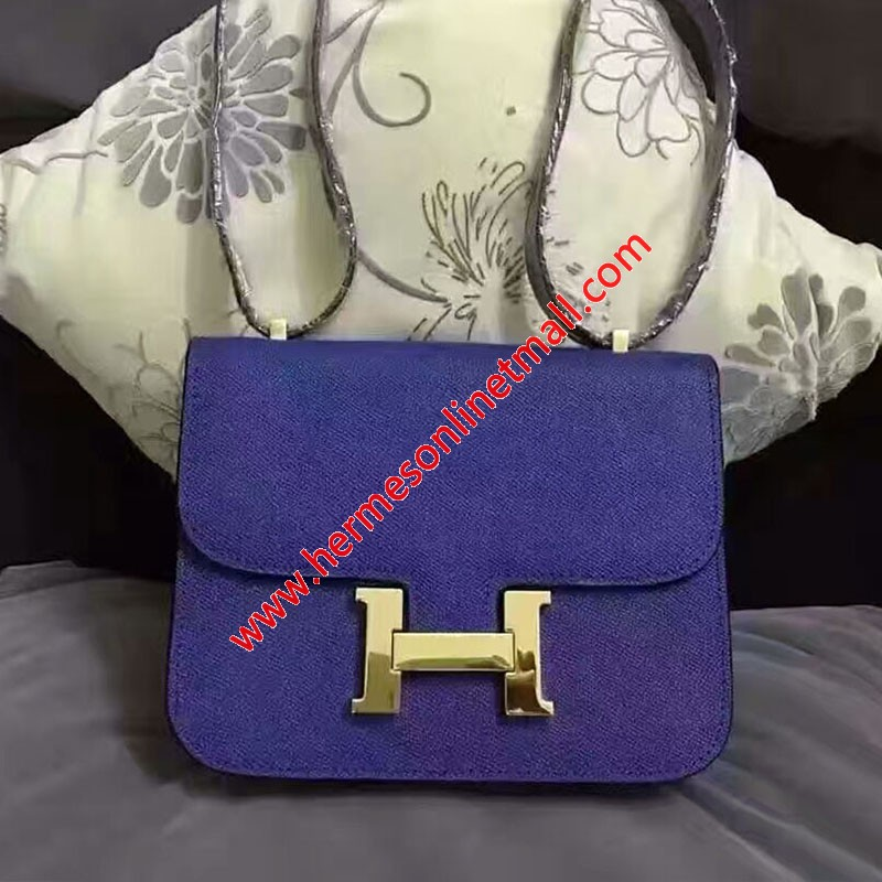 Hermes Constance Bag Epsom Leather Gold Hardware In Blue