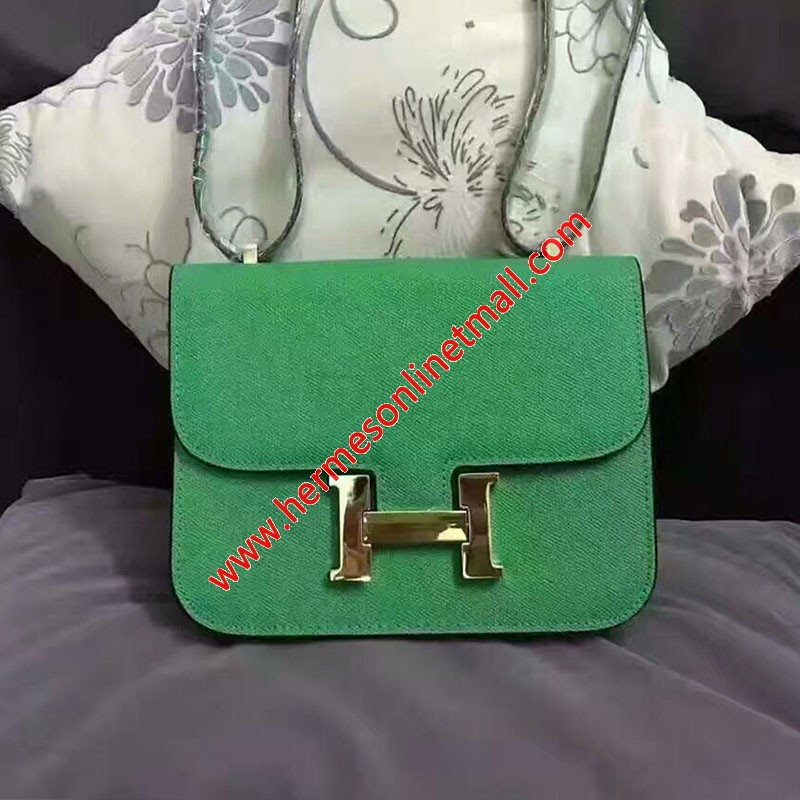 Hermes Constance Bag Epsom Leather Gold Hardware In Green