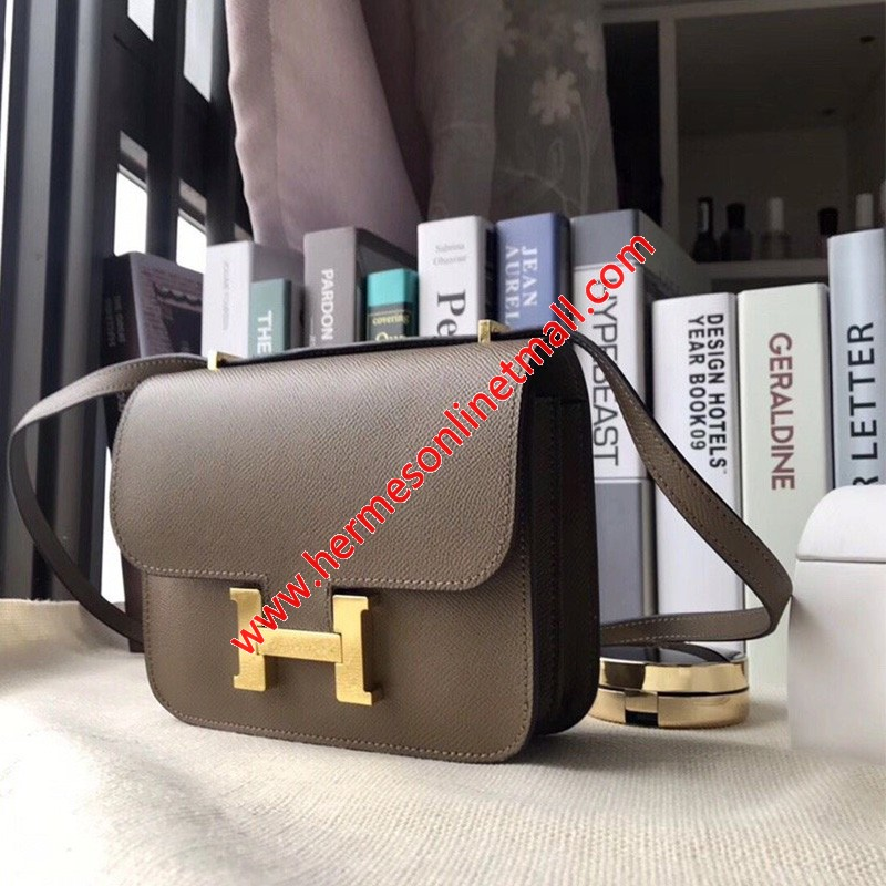 Hermes Constance Bag Epsom Leather Gold Hardware In Grey