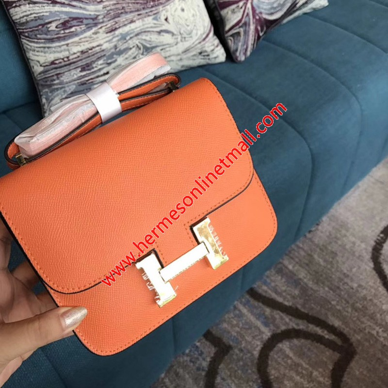 Hermes Constance Bag Epsom Leather Gold Hardware In Orange