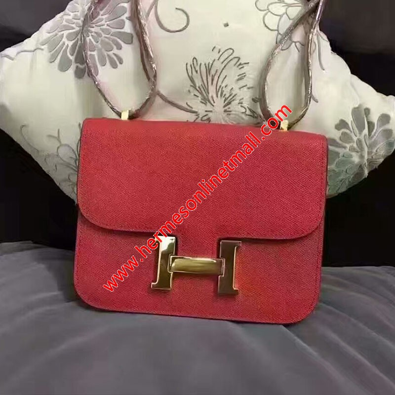 Hermes Constance Bag Epsom Leather Gold Hardware In Red