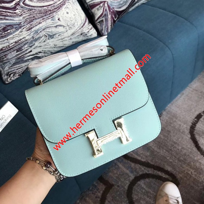 Hermes Constance Bag Epsom Leather Gold Hardware In Sky Blue