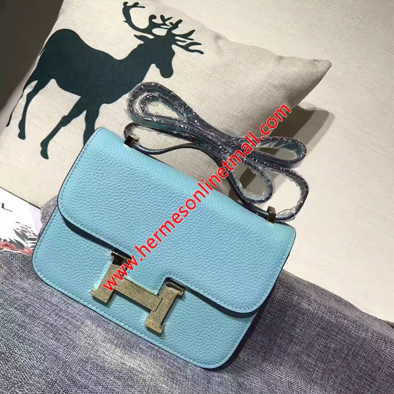 Hermes Constance Bag Togo Leather Gold Hardware In Light Blue