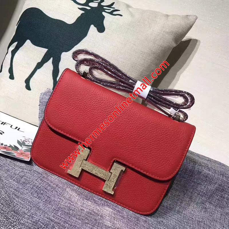 Hermes Constance Bag Togo Leather Gold Hardware In Red