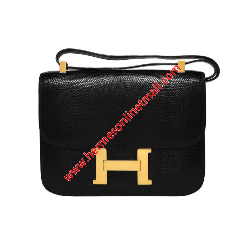 Hermes Constance Bag Lizard Leather Gold Hardware In Black
