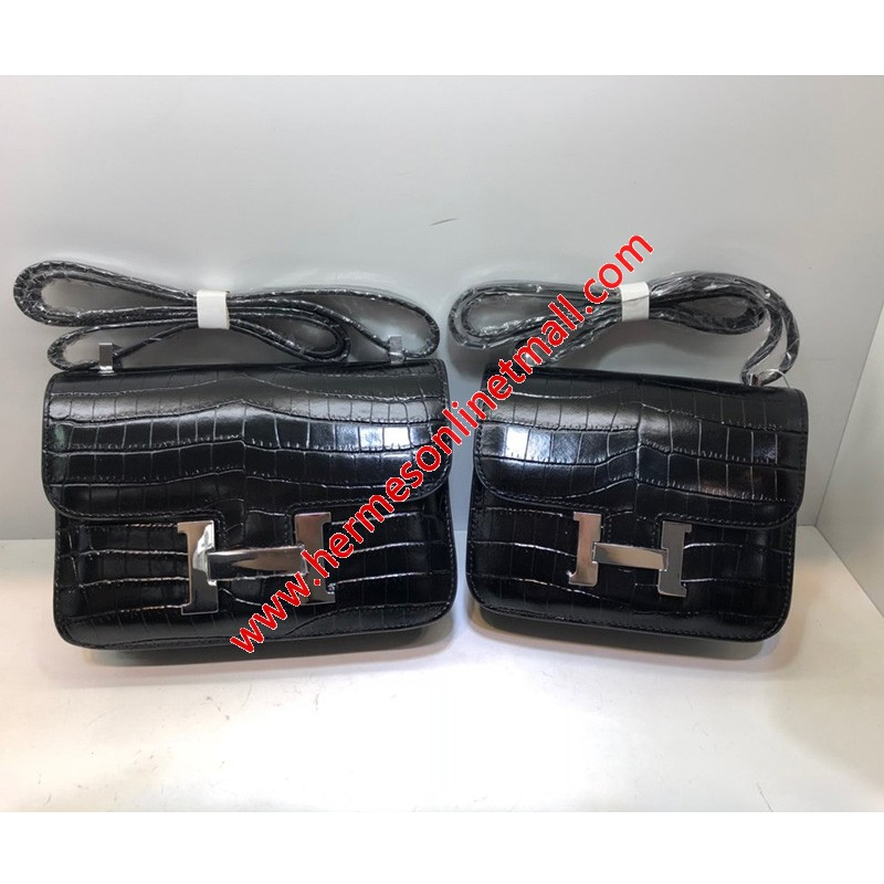 Hermes Constance Bag Alligator Leather Palladium Hardware In Black