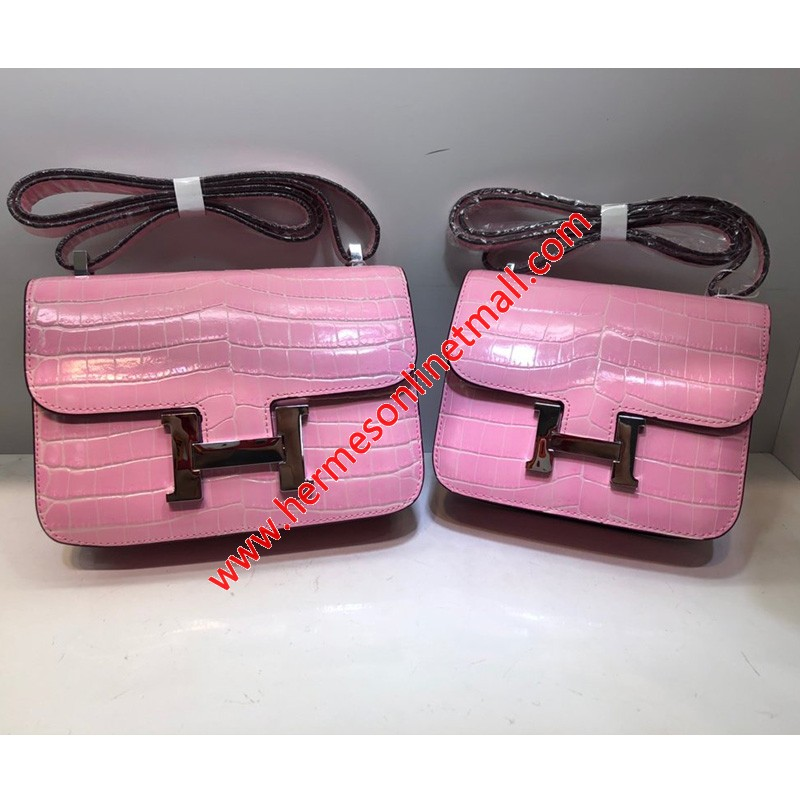 Hermes Constance Bag Alligator Leather Palladium Hardware In Pink