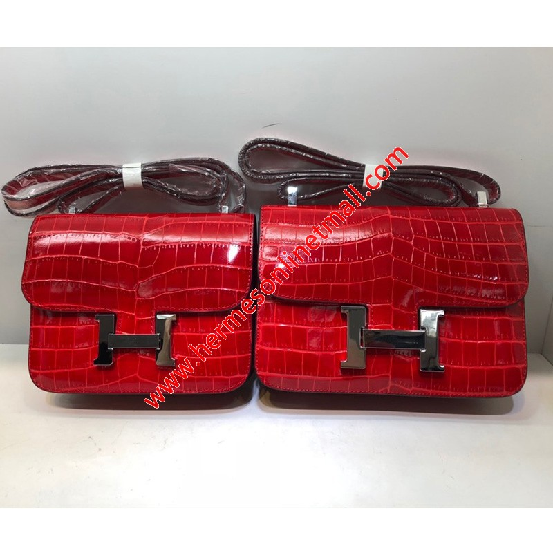 Hermes Constance Bag Alligator Leather Palladium Hardware In Red