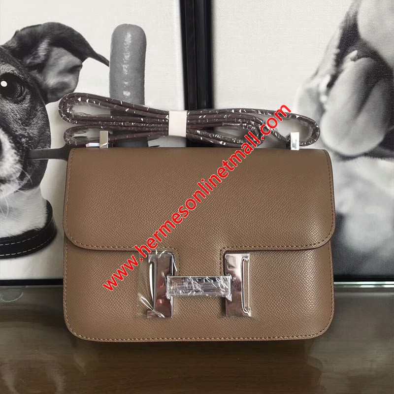 Hermes Constance Bag Epsom Leather Palladium Hardware In Coffee