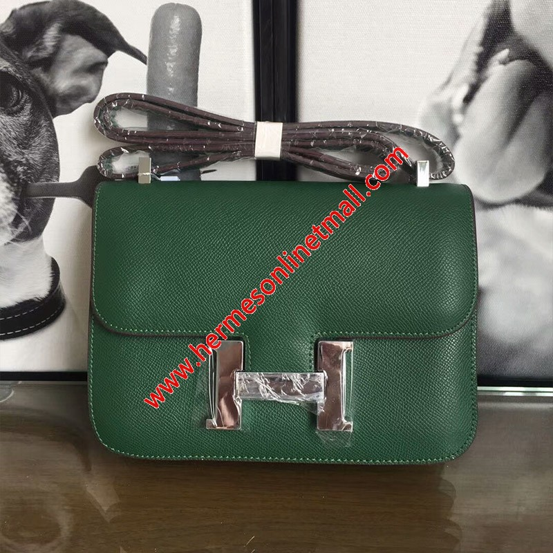 Hermes Constance Bag Epsom Leather Palladium Hardware In Green
