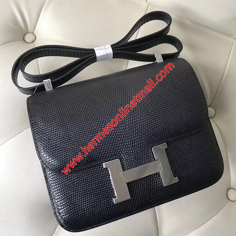 Hermes Constance Bag Lizard Leather Palladium Hardware In Black