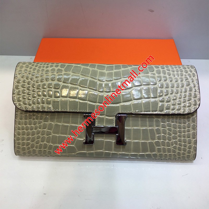 Hermes Constance Wallet Alligator Leather Palladium Hardware In Grey