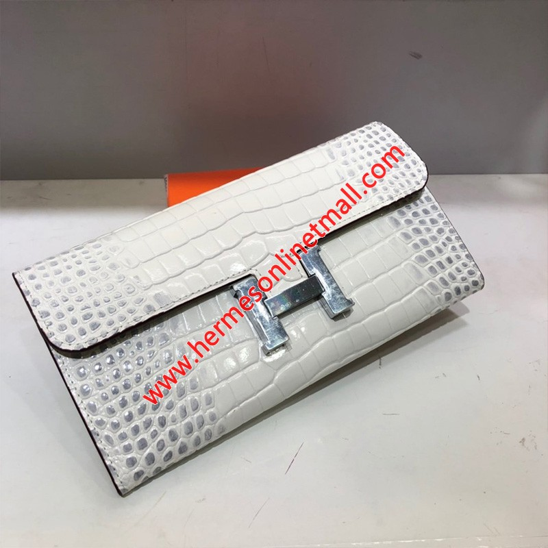 Hermes Constance Wallet Alligator Leather Palladium Hardware In White