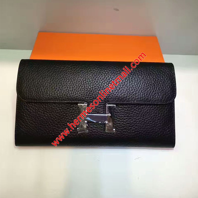 Hermes Constance Wallet Togo Leather Palladium Hardware In Black