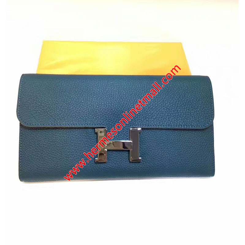 Hermes Constance Wallet Togo Leather Palladium Hardware In Blue