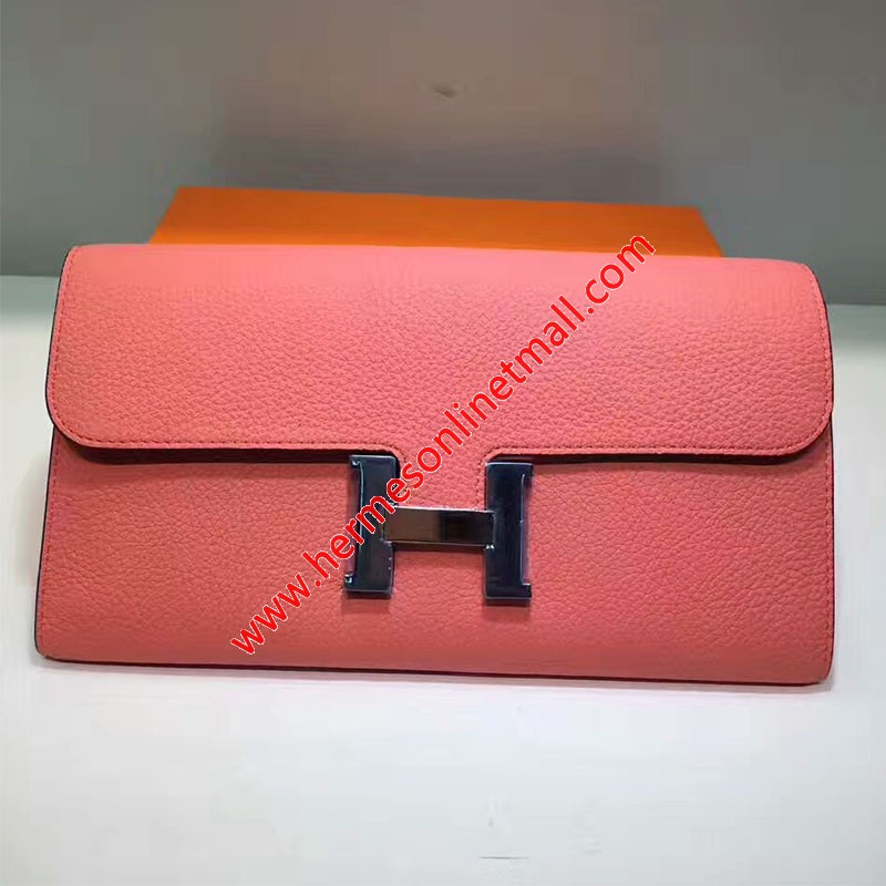 Hermes Constance Wallet Togo Leather Palladium Hardware In Pink