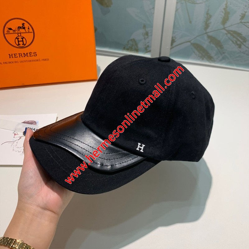 Hermes H Cotton/Leather Baseball Cap Black