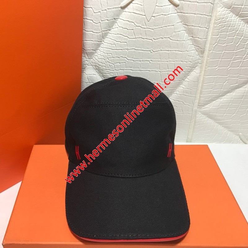 Hermes H Canvas Baseball Cap In Black/Red