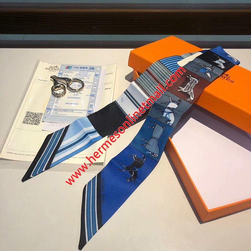Hermes Courvertures Nouvelles Vichy Twilly In Blue
