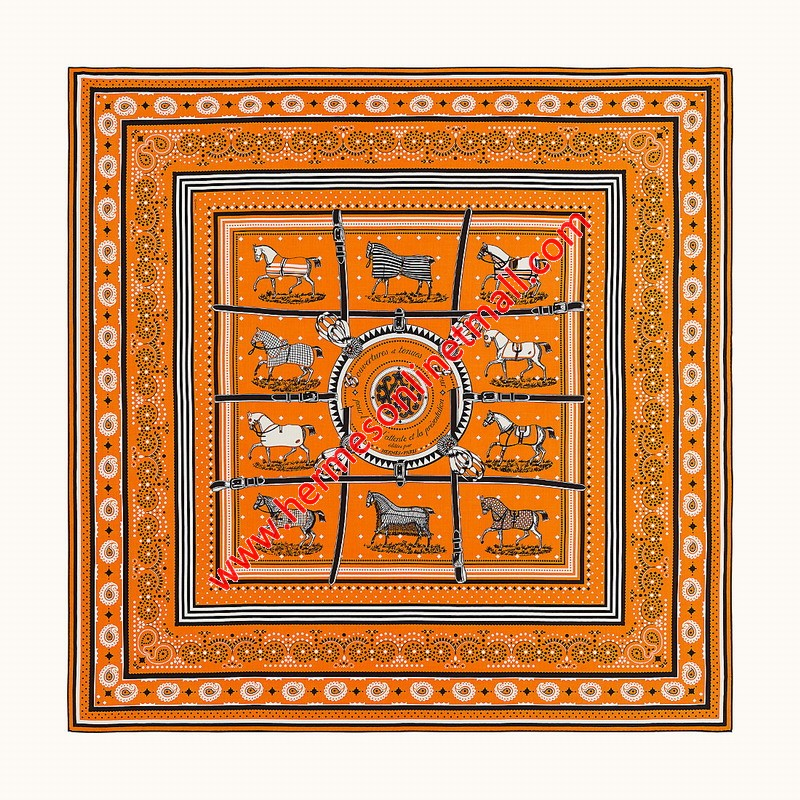 Hermes Couvertures et Tenues de Jour Bandana Shawl 140 In Orange