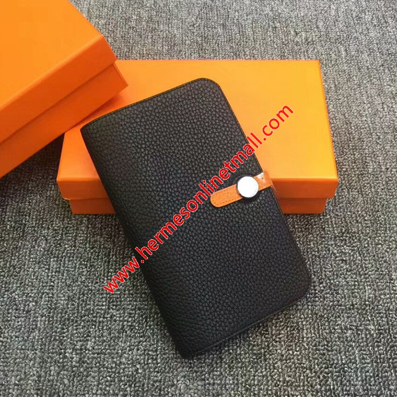 Hermes Dogon Card Holder Color Blocking Togo Leather Palladium Hardware In Black/Orange