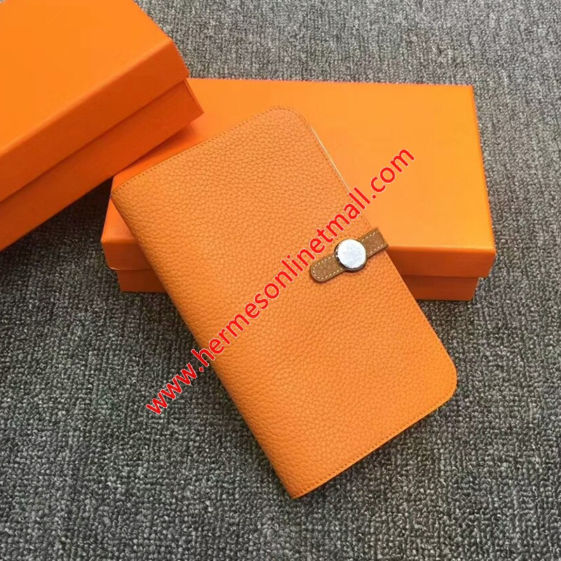 Hermes Dogon Card Holder Color Blocking Togo Leather Palladium Hardware In Orange/Brown