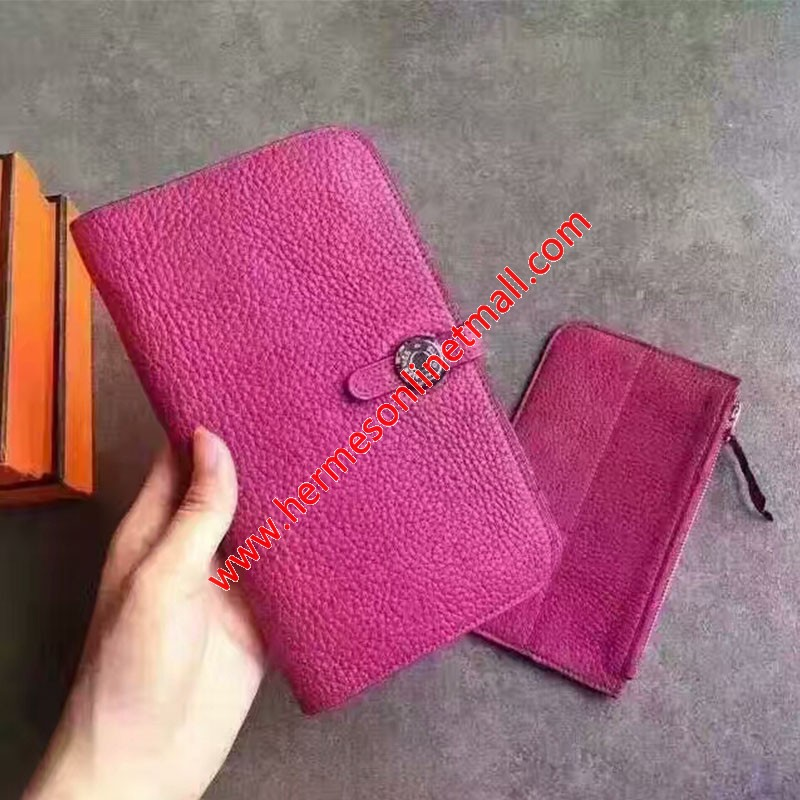 Hermes Dogon Card Holder Togo Leather Palladium Hardware In Rose