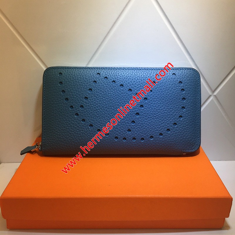 Hermes Evelyne Wallet Togo Leather Palladium Hardware In Blue