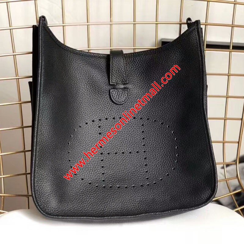 Hermes Evelyne Bag Clemence Leather Palladium Hardware In Black