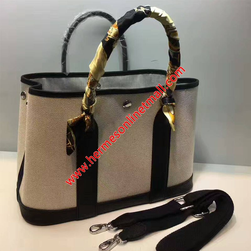 Hermes Garden Party Bag Canvas In Black