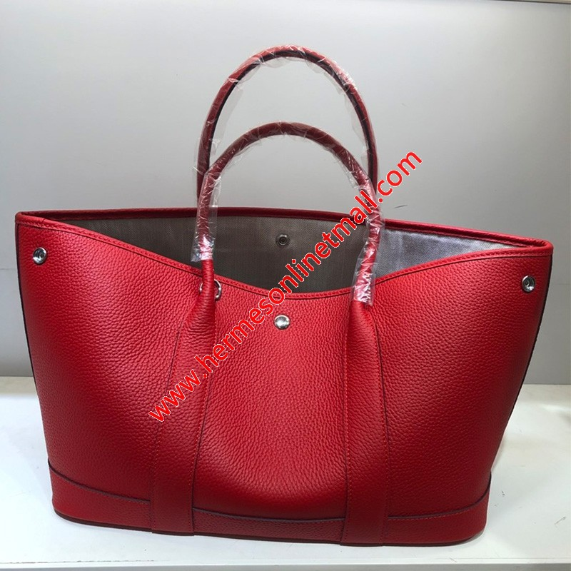 Hermes Garden Party Bag Togo Leather In Red
