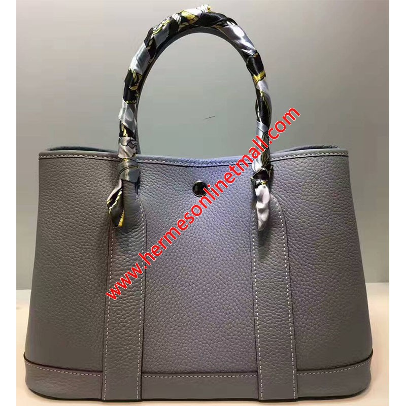Hermes Garden Party Bag Togo Leather In Sky Blue