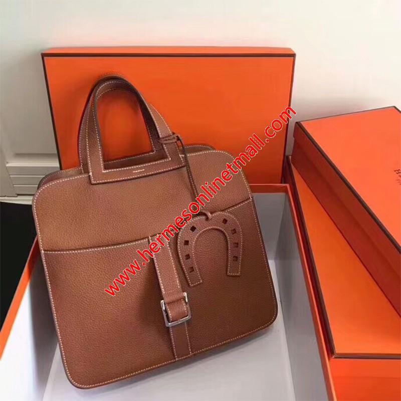 Hermes Halzan Bag Palladium Hardware Clemence Leather In Brown