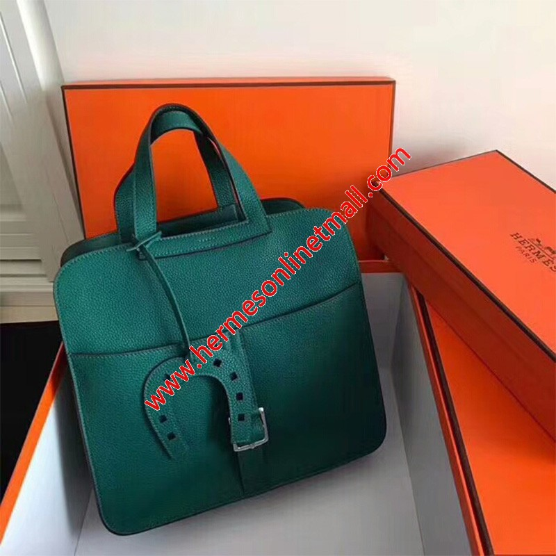 Hermes Halzan Bag Palladium Hardware Clemence Leather In Green