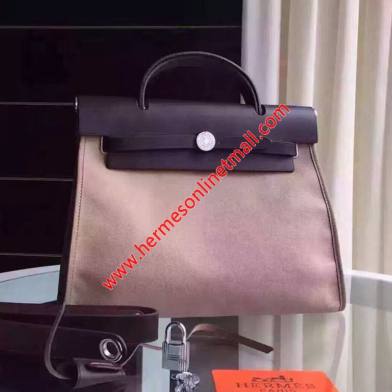 Hermes Herbag Bag Canvas Palladium Hardware In Apricot