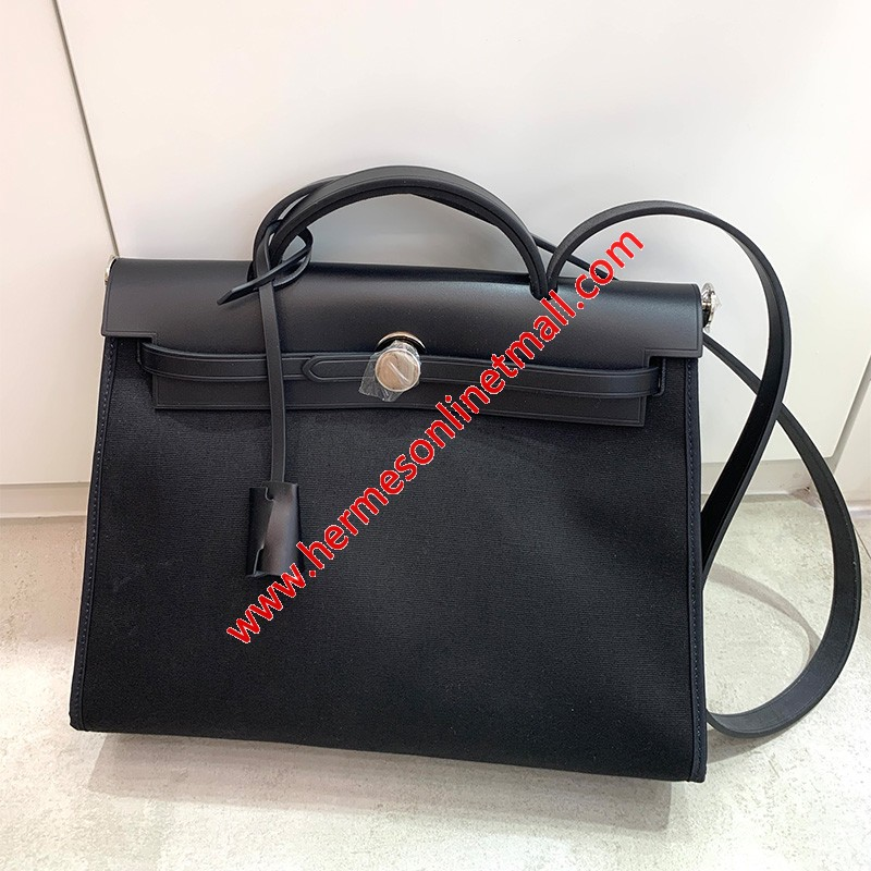 Hermes Herbag Bag Canvas Palladium Hardware In Black