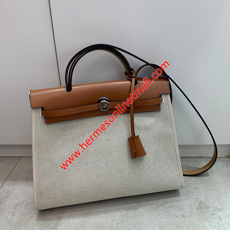 Hermes Herbag Bag Canvas Palladium Hardware In White