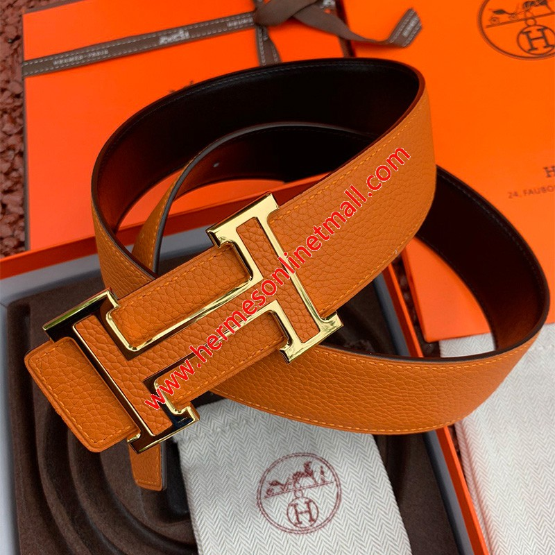 Hermes H Leather Buckle 38MM Reversible Belt Togo Leather In Brown/Gold