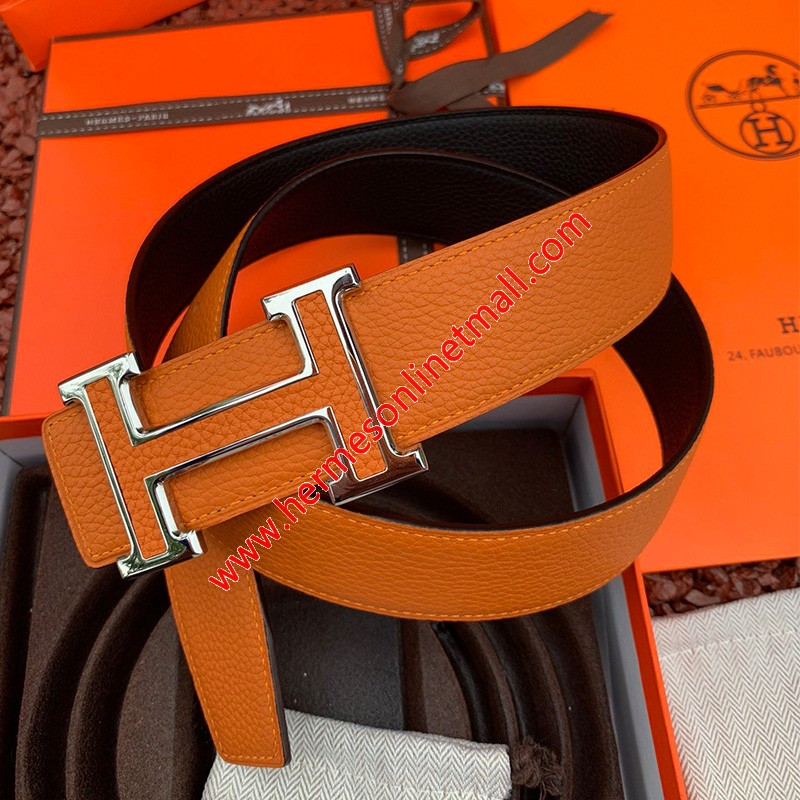 Hermes H Leather Buckle 38MM Reversible Belt Togo Leather In Brown/Silver