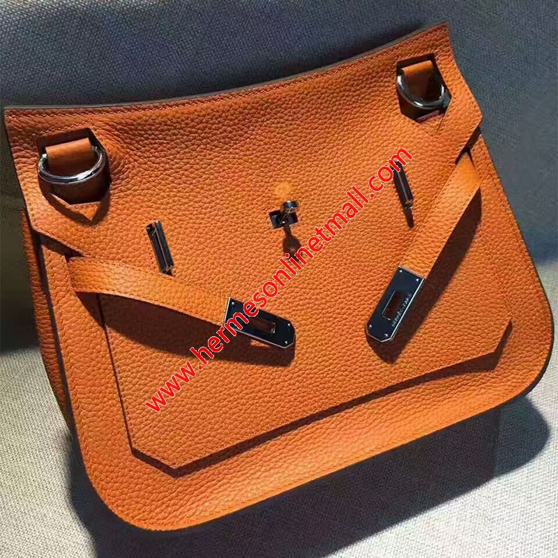 Hermes Jypsiere Bag Clemence Leather Palladium Hardware In Orange