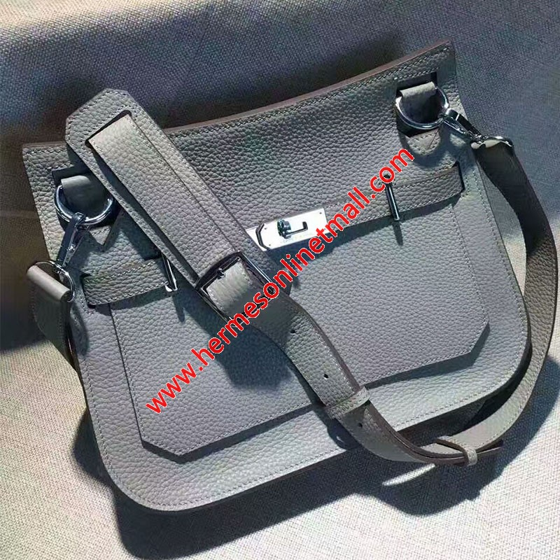 Hermes Jypsiere Bag Clemence Leather Palladium Hardware In Sky Blue