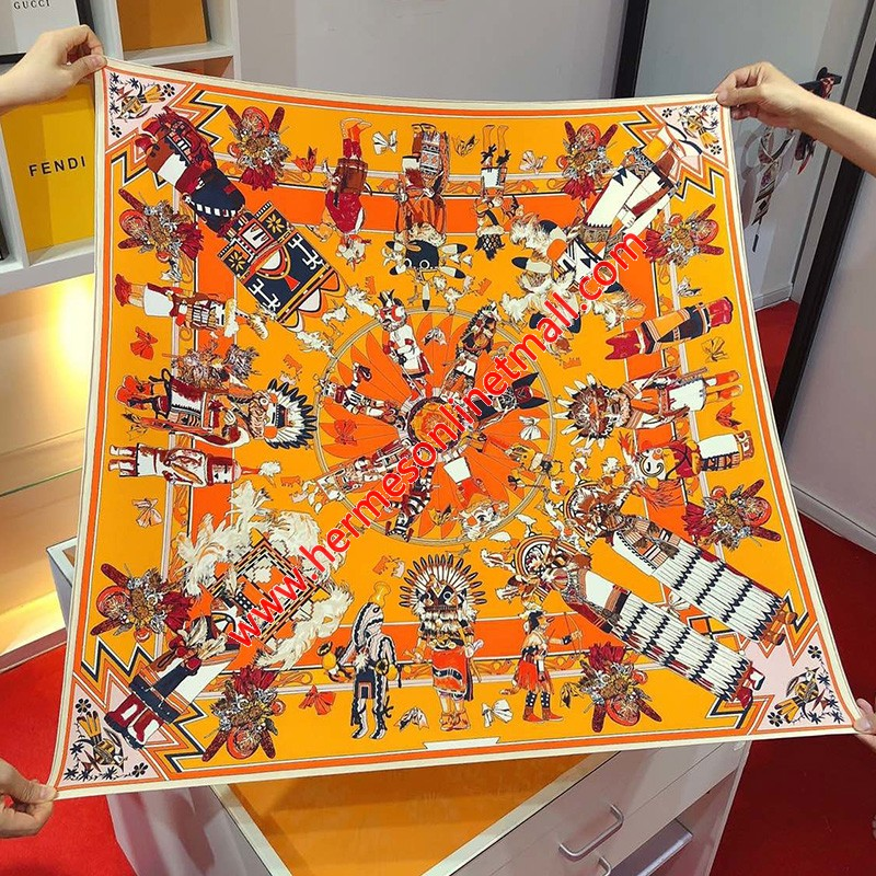 Hermes Kachinas Wash 90 Scarf In Orange