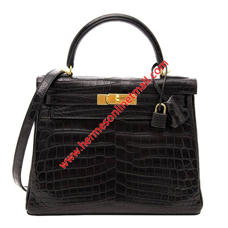 Hermes Kelly Bag Alligator Leather Gold Hardware In Black