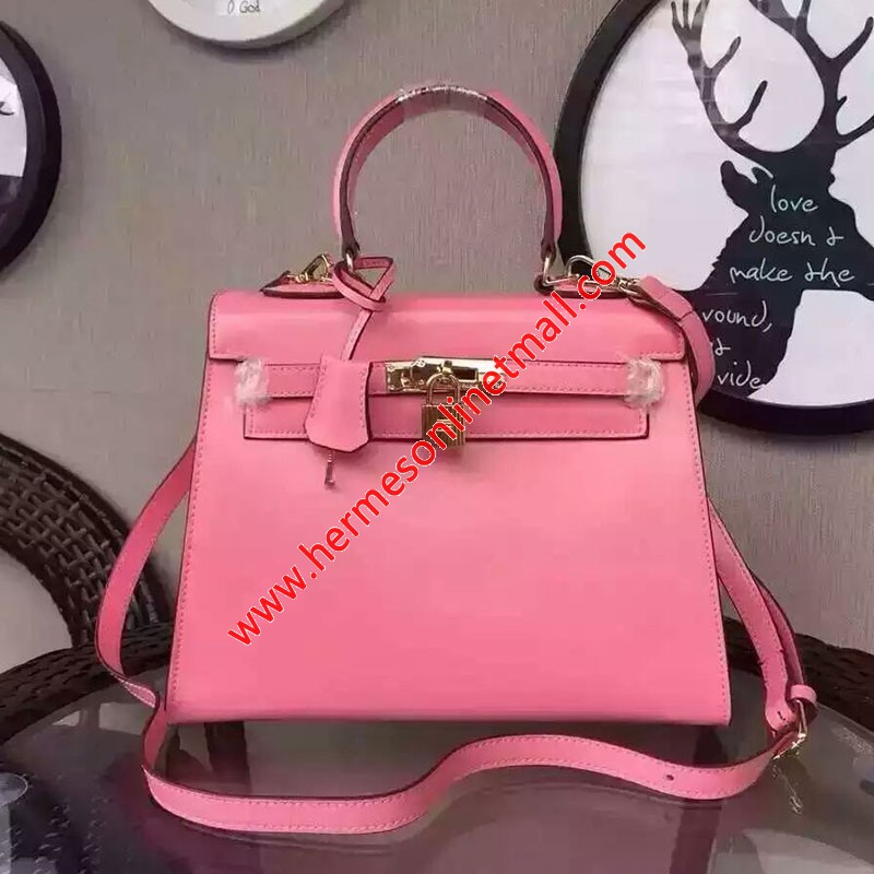 Hermes Kelly Bag Box Leather Gold Hardware In Pink