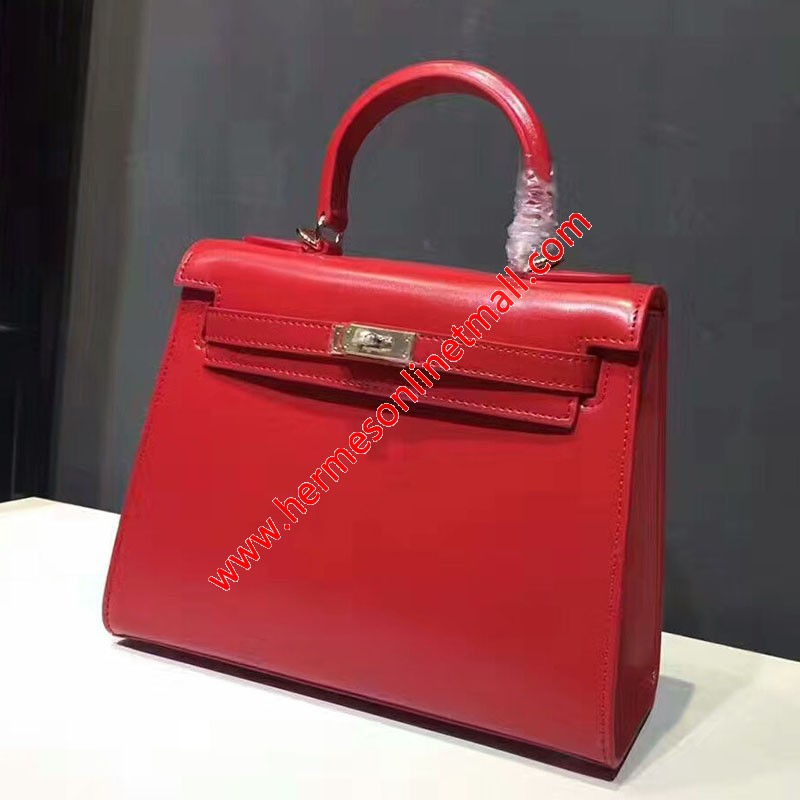 Hermes Kelly Bag Box Leather Gold Hardware In Red