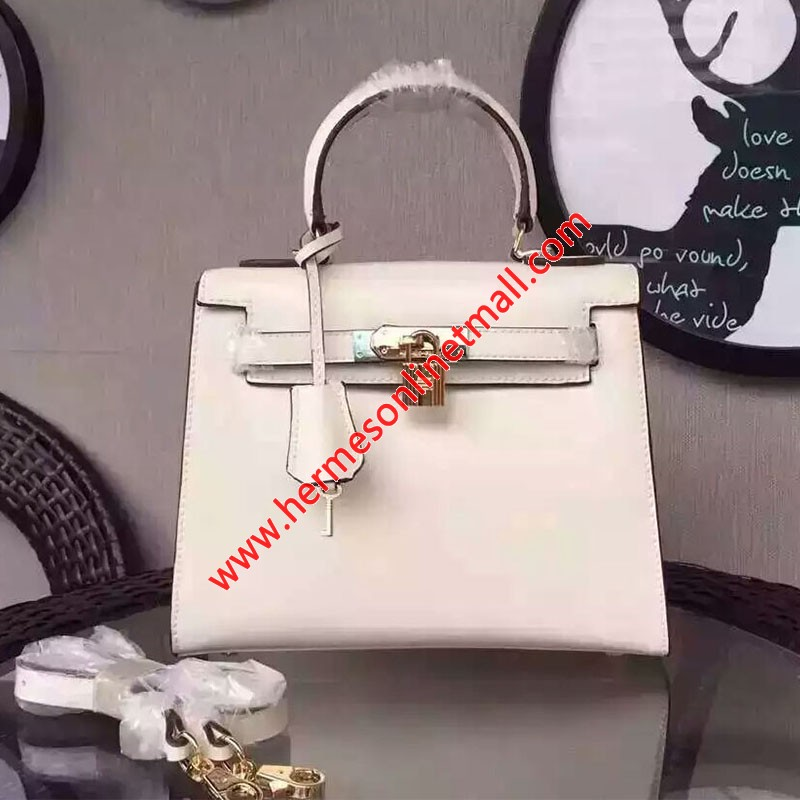 Hermes Kelly Bag Box Leather Gold Hardware In White