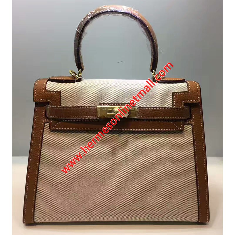 Hermes Kelly Bag Canvas Gold Hardware In Brown