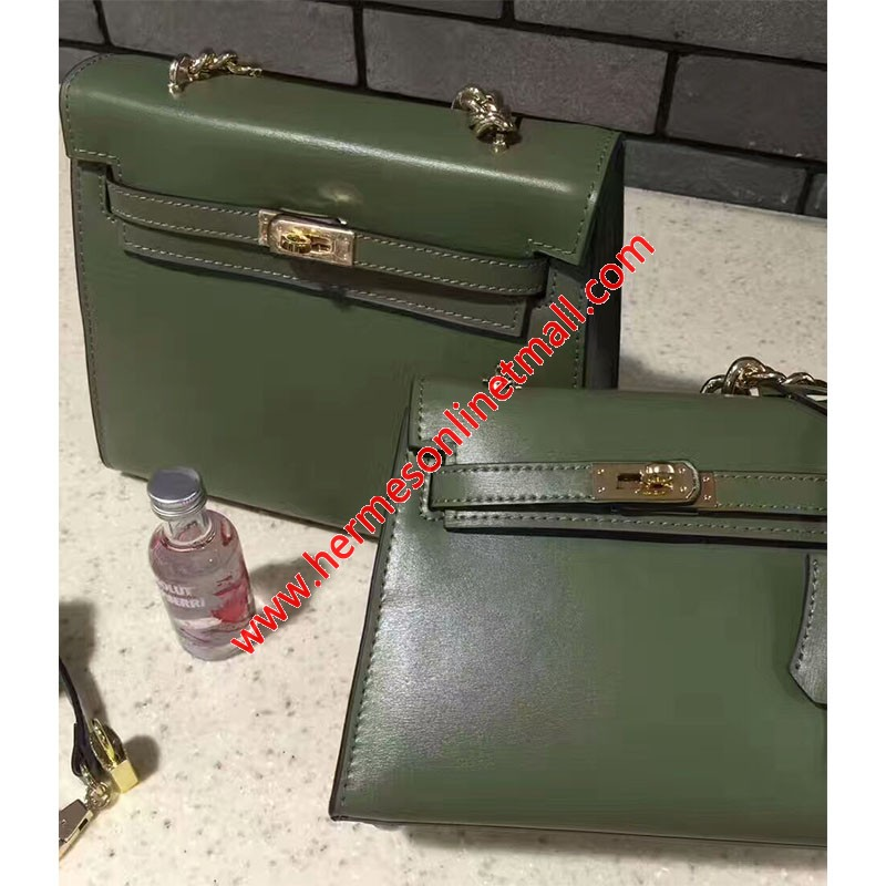 Hermes Kelly Chain Bag Box Leather Gold Hardware In Green