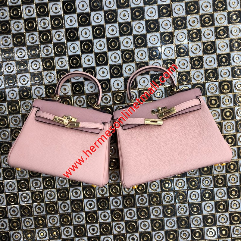 Hermes Kelly Bag Color Blocking Clemence Leather Gold Hardware In Light Pink
